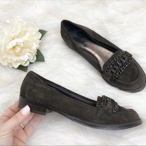 B Makowsky Suede Chain Loafers Sz 6.5